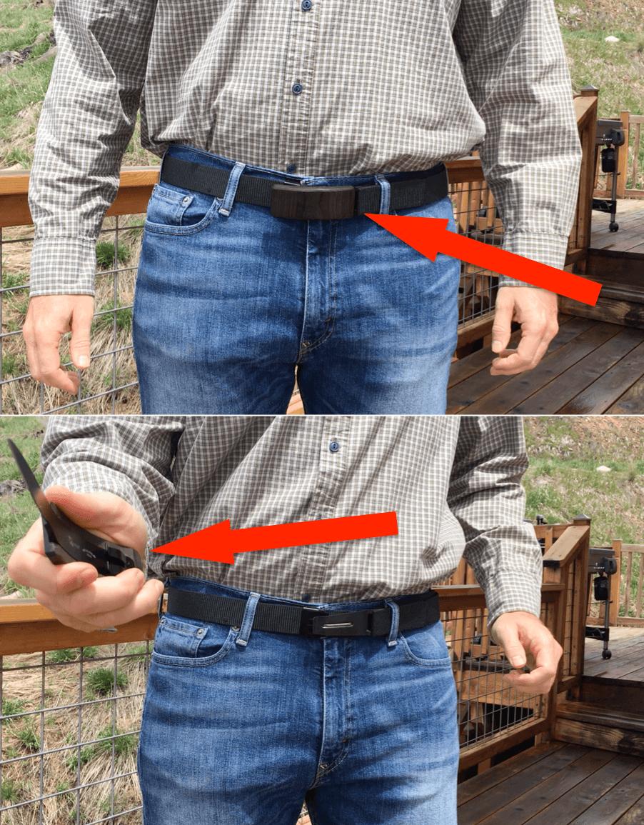 חינם - חגורת עור מיוחדת הכוללת סכין להגנה עצמית
